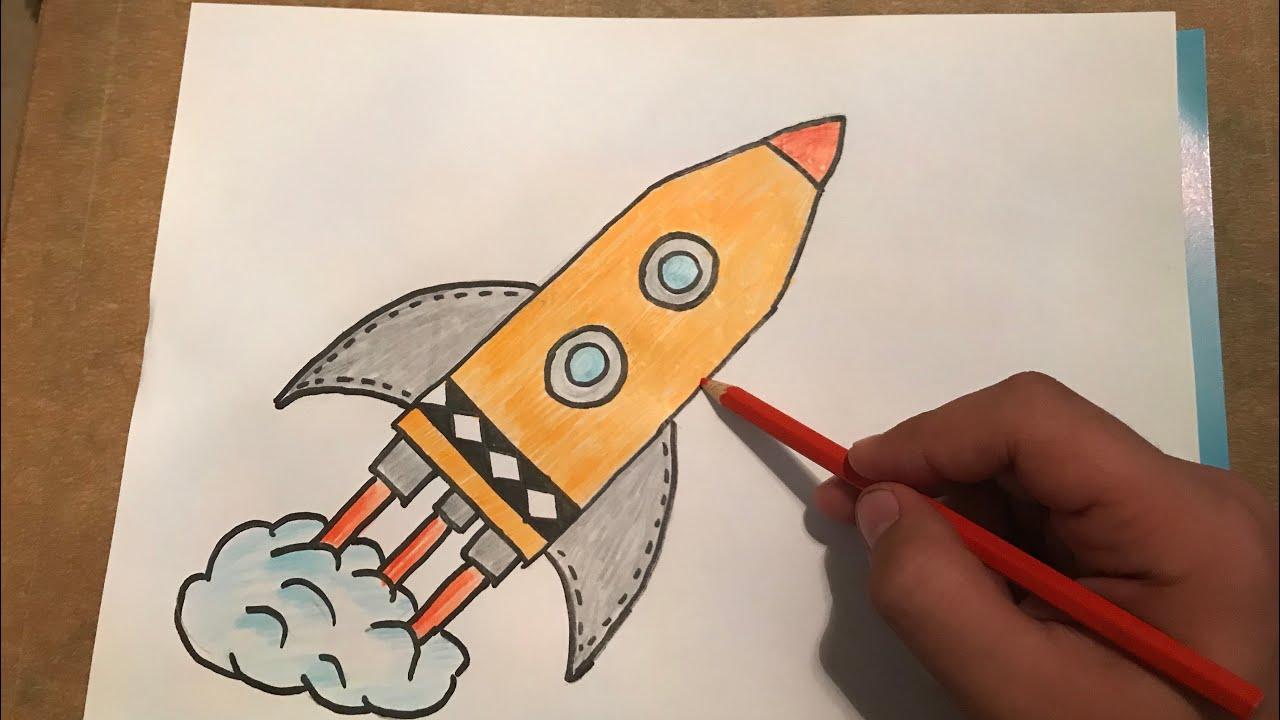 Cok Kolay Roket Cizimi Youtube