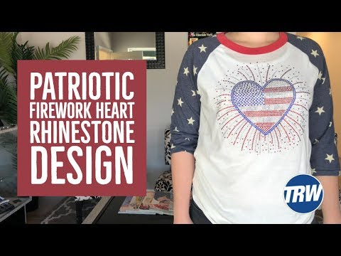 Creating a July 4th/Memorial Day Firework Heart Rhinestone Design