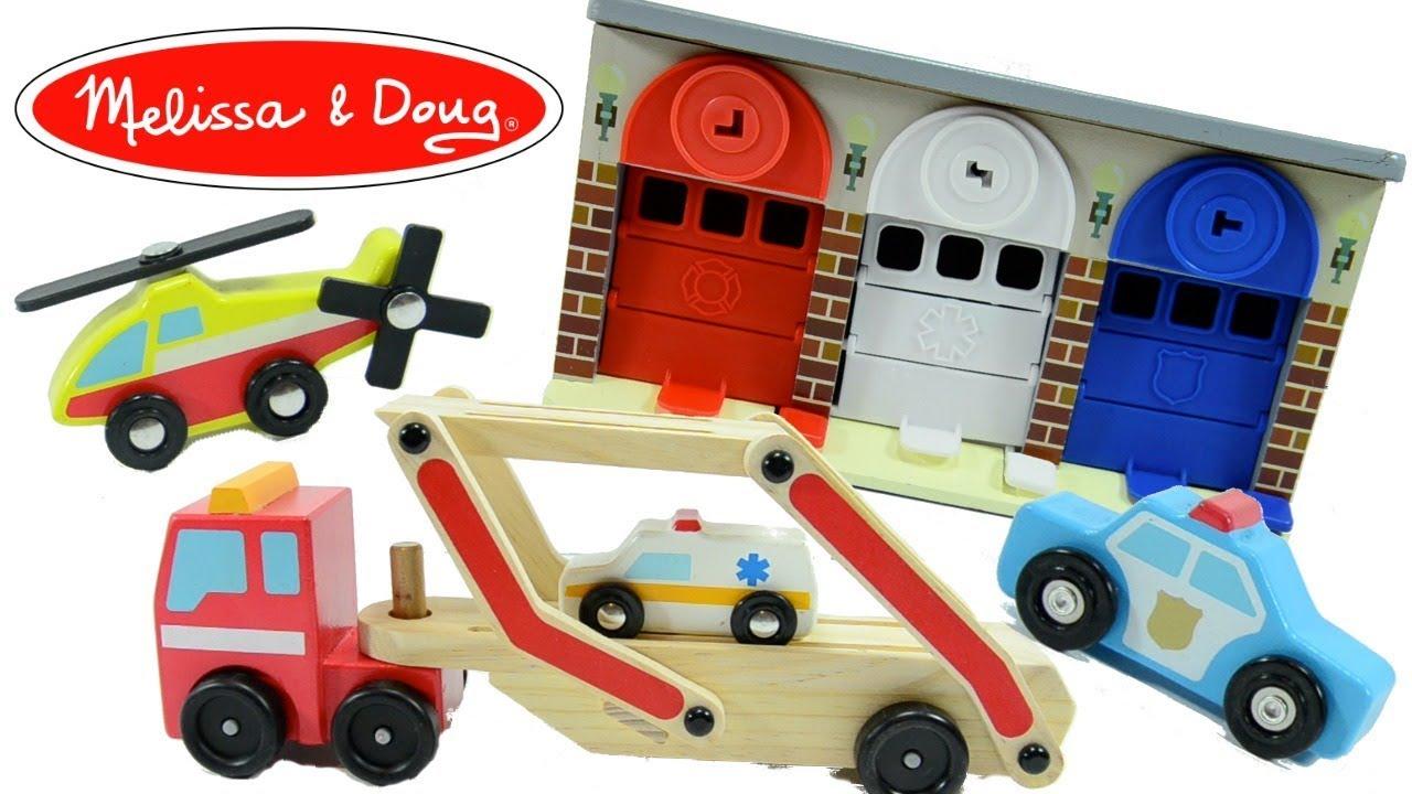 Melissa And Doug Toys Three Door Parking Garage Playset Car Carrier Toy