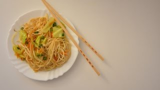 Жареная китайская лапша с овощами • Вегетарианские рецепты
