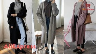 Dress From AliExpress. DICLOUD Oversized Jacket Coat Long Cardigan Sweater Loose Knit Harajuku.