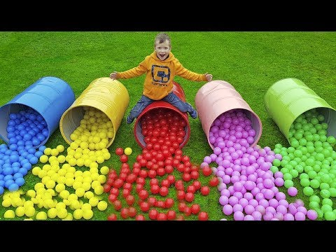 Johny Johny Yes Papa Nursery Rhymes Song Kids Playing with Color Balls & Barrels