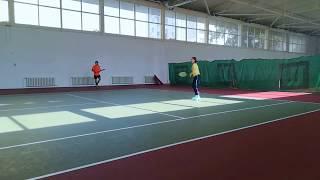Сплит тренировка по теннису 8 занятие - Большой теннис для начинающих