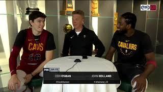 Cedi Osman & John Holland chat with Fred McLeod before Cavs preseason game