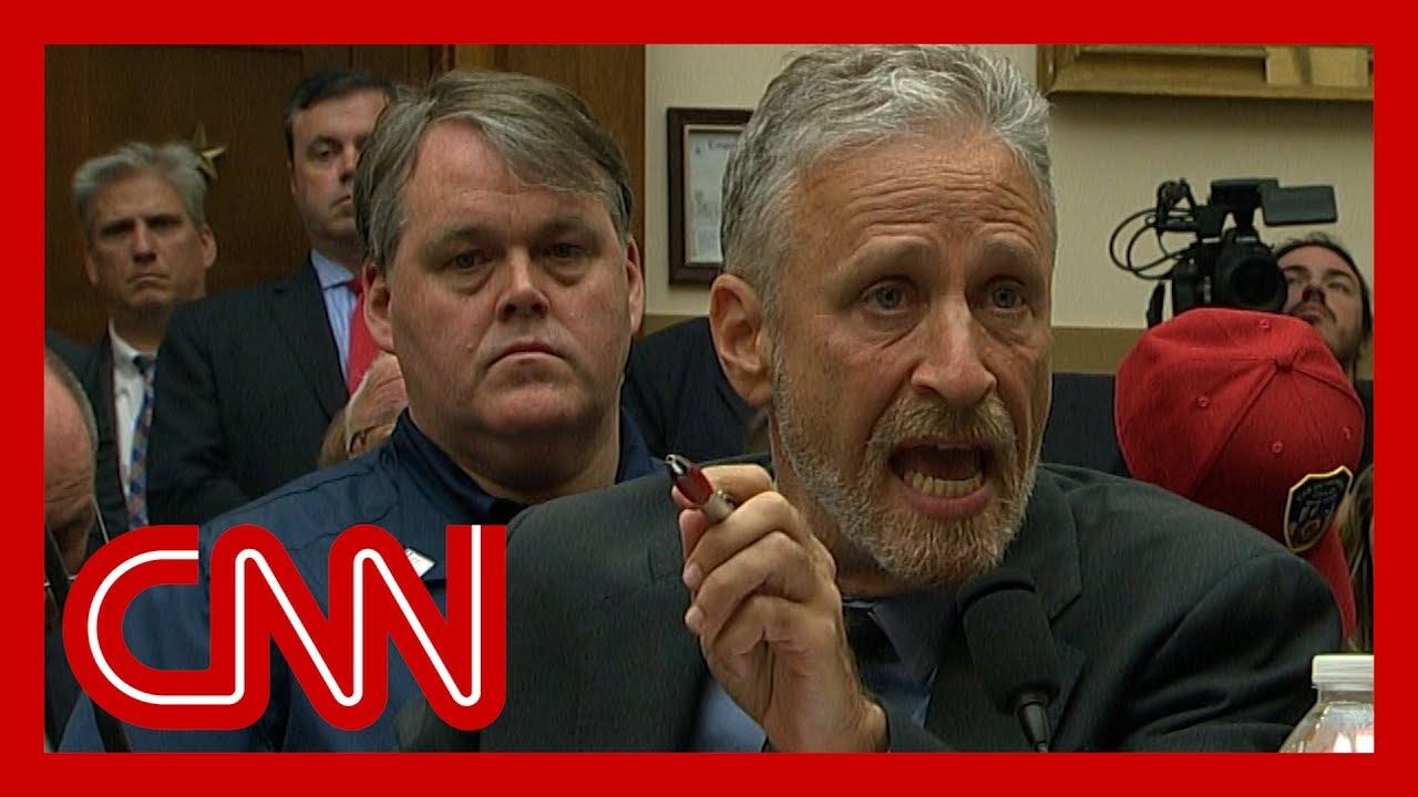 Jon Stewart chokes up, gives angry speech to Congress image