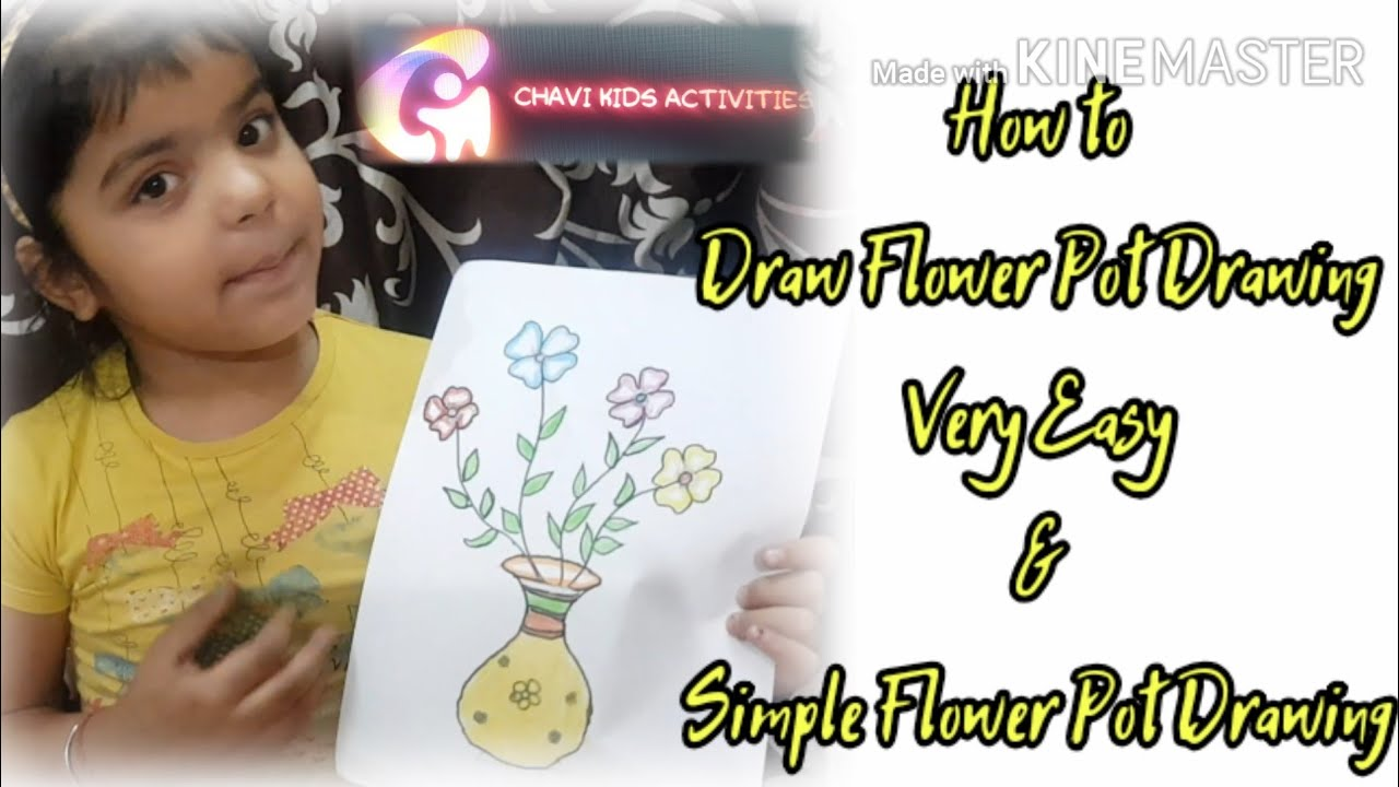 How to Draw Flower Pot Drawing | Very Easy & Simple Flower Pot Drawing by Chavi