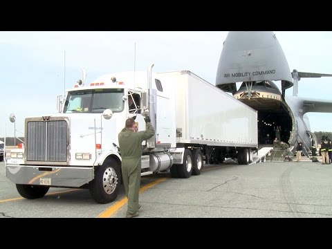 Watch A Gigantic C-5 Galaxy Cargo Aircraft Swallows A Semi Truck