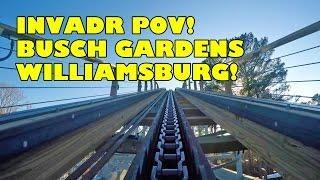 InvadR Roller Coaster Front Seat POV Busch Gardens Williamsburg