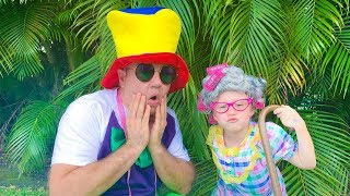 Stacy and Dad are playing funny clothes