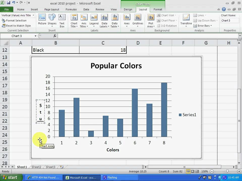 making a column graph using excel 2010 - YouTube