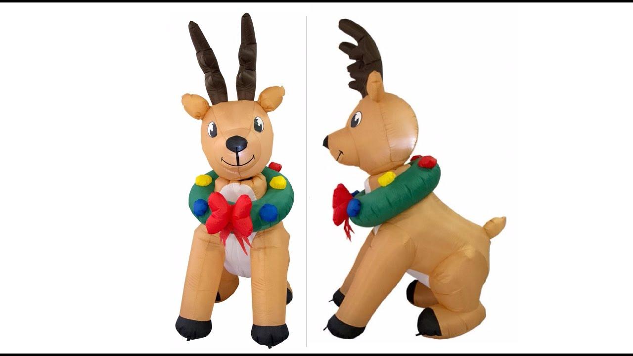 Cute Illuminated U0026 Animated Reindeer With Wreath Inflatable   70cm