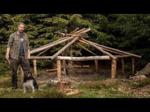 Fire Cabin - Bushcraft build with hand tools. (4) Attaching the roof structure (reciprocal)