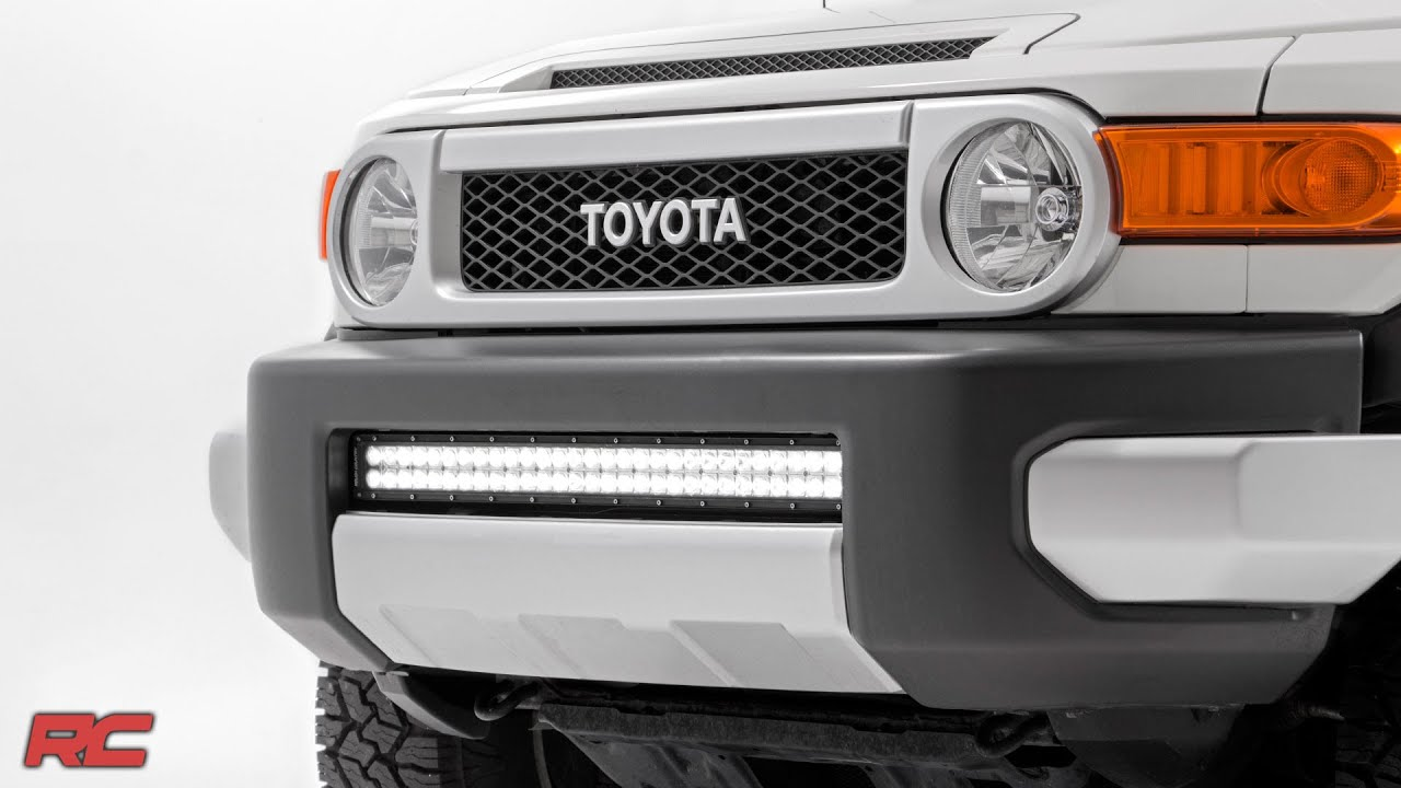 2007 2014 toyota fj cruiser 30 inch light bar bumper mount by 2007 2014 toyota fj cruiser 30 inch light bar bumper mount by rough country youtube mozeypictures Image collections
