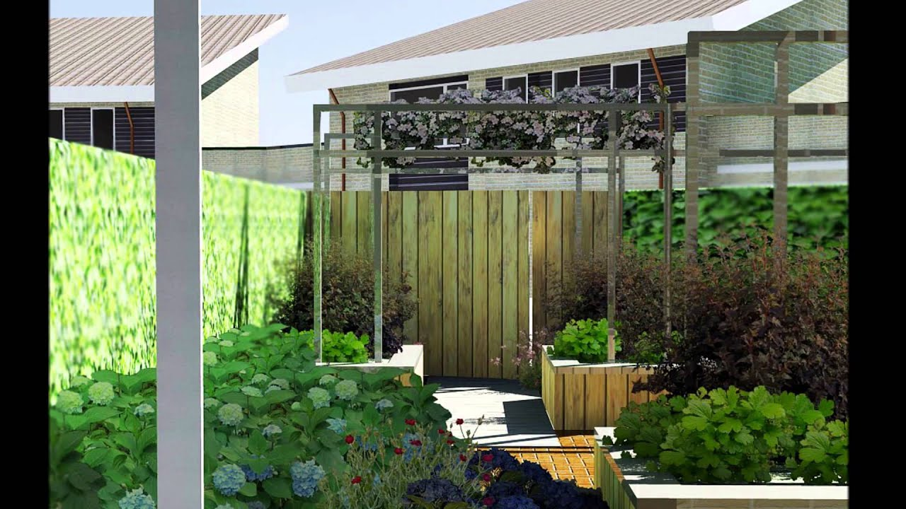 Hele kleine achtertuin 3d tuinontwerp youtube - Tuinontwerp ...