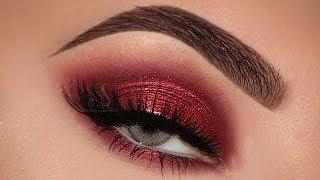 RED Eyeshadow + NUDE Lips! Holiday Makeup Tutorial 2017! | Melissa Samways