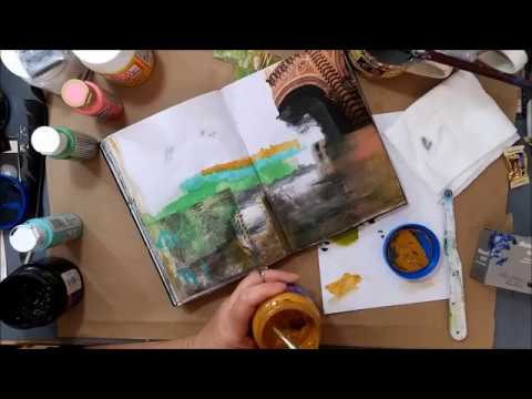 Art Journal Spread / Collage Art/ Visual Journaling/ Places around the World Part 1