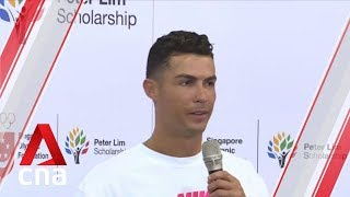 Football superstar Cristiano Ronaldo visits local primary school