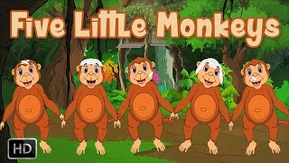 Five Little Monkeys Jumping On The Bed | HD Nursery Rhyme with Lyrics