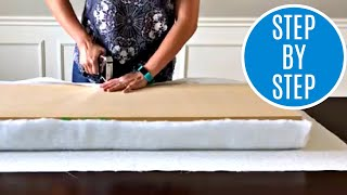 How to Make a No Sew Bench Cushion - DIY Upholstered Bench Seat