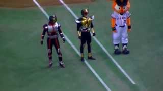 巨人対広島戦で仮面ライダーシリーズとコラボレーション。 内海選手の登...