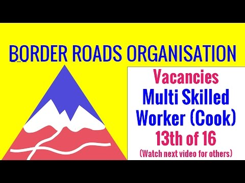 Border Roads Organisation (Cook)330 पद  Multi Skilled Worker Recruitment 2016 Syllabus