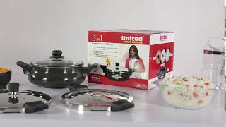 UNITED SMART COOKER HARD ANODISED 3 IN 1 (COOKER + STRAINER + SERVER)