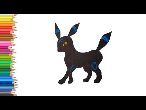 Как нарисовать Черного покемона Умбреон карандашом