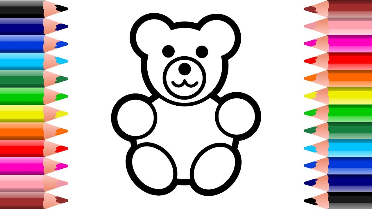 How To Draw Plush Toy Bear for kids | Drawing Animals for ...