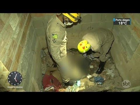 Vigia é resgatado após passar 4 dias em poço de elevador em Goiás   SBT Notícias (13/10/17)