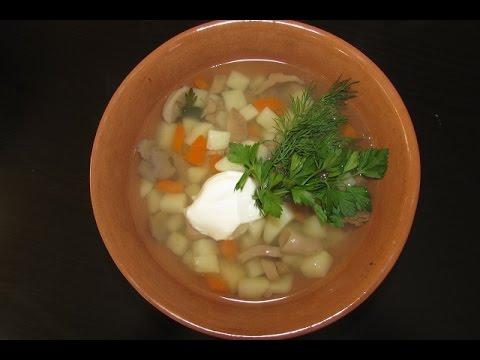 Грибной суп. Суп из свежих грибов сыроежек.