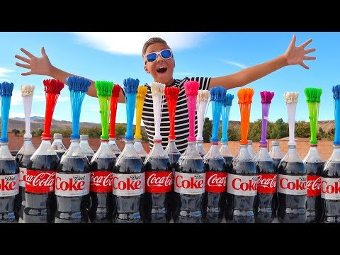 Thumbnail: COKE AND MENTOS VS INSANE WATER BALLOONS EXPERIMENT!