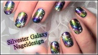 Silvester Galaxy Nageldesign New Years Eve Nailart Nägel lackieren