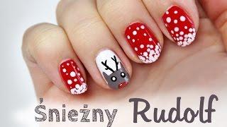 ♦ Zimowe i świąteczne paznokcie - renifer w śniegu ♦ Thumbnail