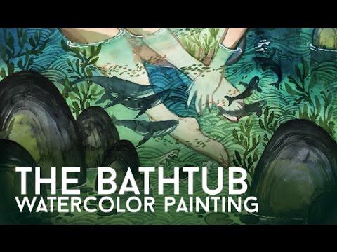 The Bathtub Watercolor Painting // Light Grey Art Lab // Jacquelin de Leon