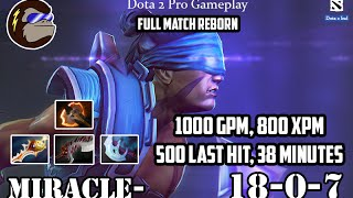Dota 2 Pro Gameplay - Miracle as Anti Mage - 1000 GPM XPM 500 Last Hit 38 Minutes - Reborn Dota