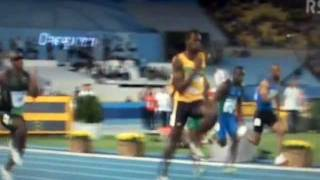 usain bolt low foot clearance and drive phase during initial acceleration period side view