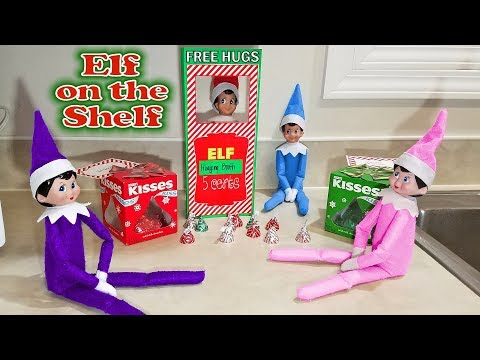 Purple & Pink Elf on the Shelf - Kissing Booth & Free Hugs with Blue and Red Elves! Day 24