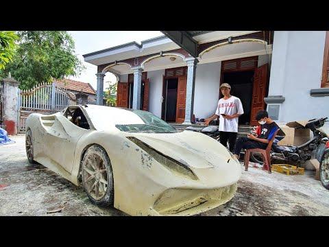 Ferrari makes great homemade out of simple materials | Tự chế siêu xe ferrari trong 60 ngày