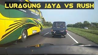 Bus Luragung Jaya Vs Toyota Rush di Tol Cipali