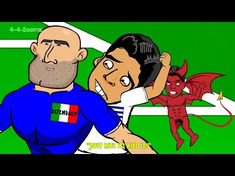 😁LUIS SUAREZ BITE on Chiellini😁 Italy vs Uruguay by 442oons 0-1(World Cup Cartoon 24.6.14) BeatIit