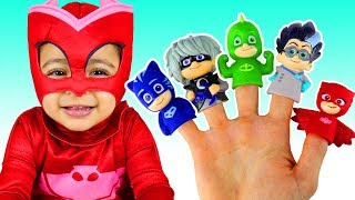 Finger Family   Learn Characters with the PJ Masks Finger Family Nursery Rhymes Song with Leah