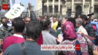 بالفيديو والصور - مناوشات بين المتظاهرين في ميدان القائد إبراهيم بالإسكندرية