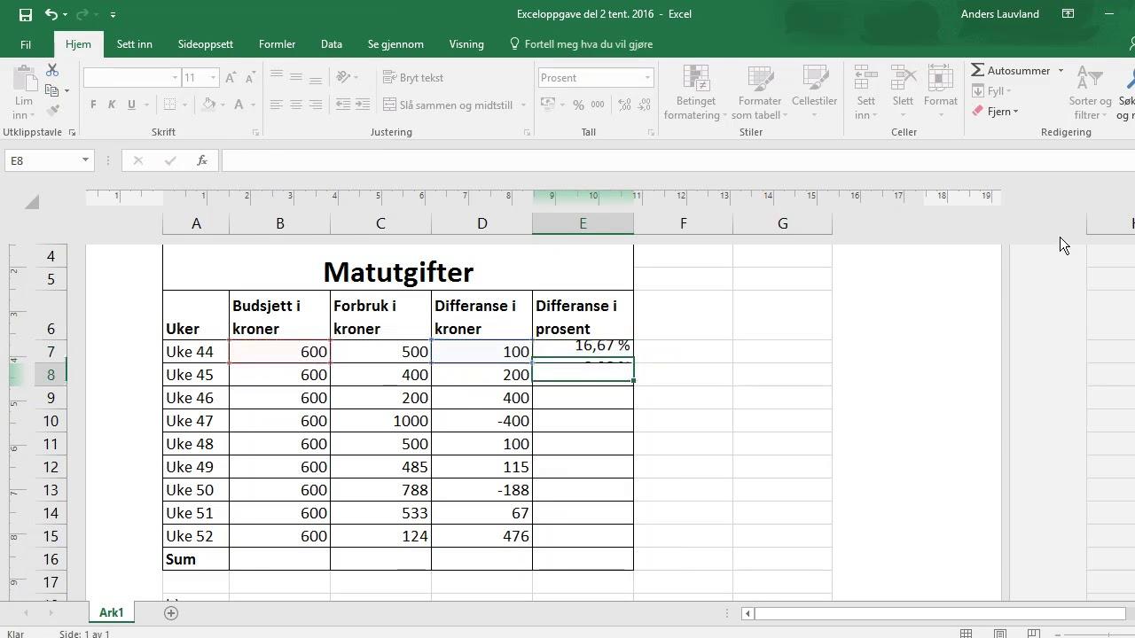 Regne ut prosent i Excel