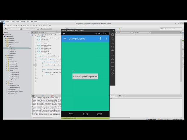 Xamarin.Android Tutorial - 60 - Replacing Fragments