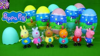 LOTS of Peppa Pig Surprise Easter Eggs Toys Plush Clips George Pig Suzy Sheep NEW Girl Toys Video