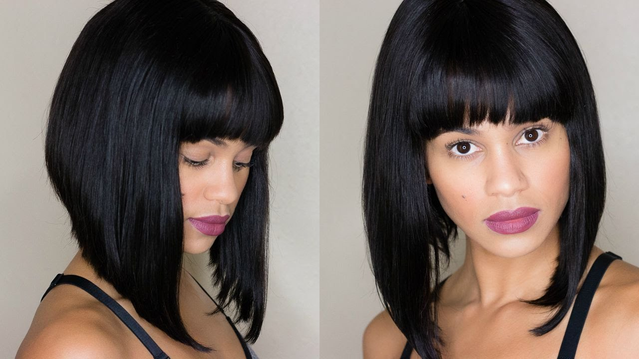 Inverted Bob Lace Wig With Bangs Feat Eva Wigs Youtube