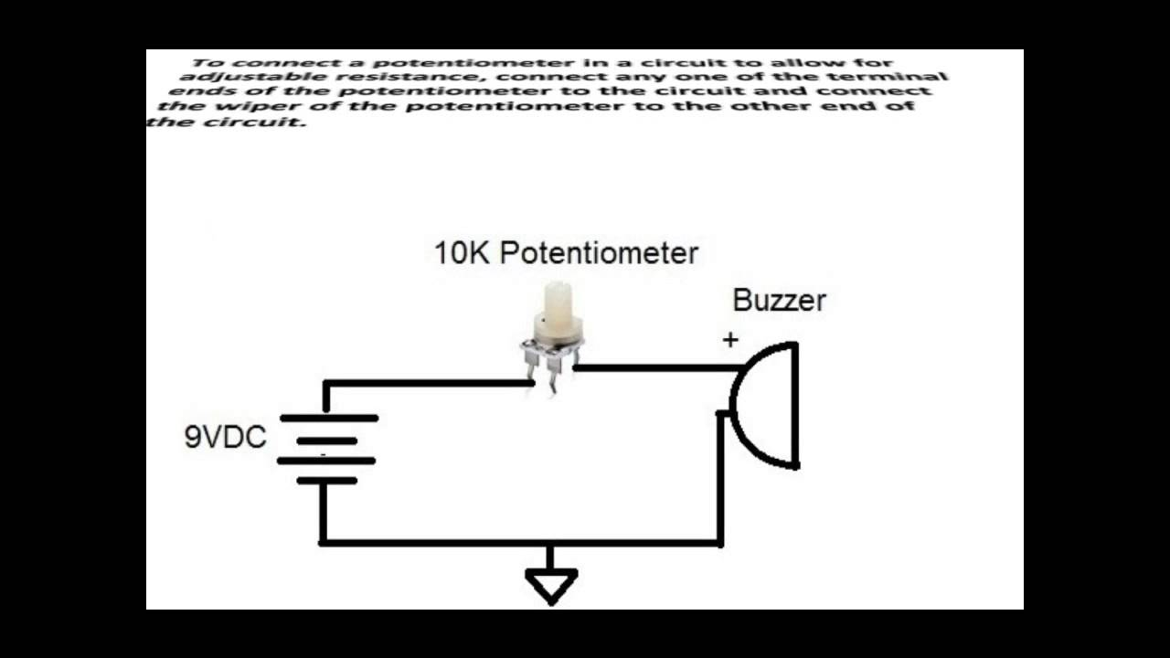 how to connect a potentiometer in a circuit youtube rh youtube com 10K Ohm Potentiometer Schematic 10K Ohm Potentiometer Schematic