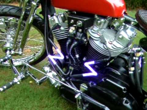1974 Harley Ironhead neon spark plug wires glowing bobber chopper
