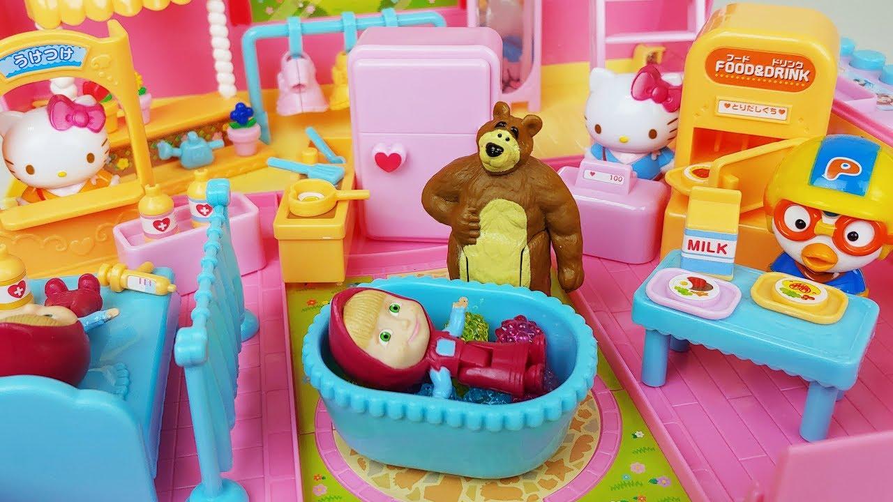 1787cd36e0c0 Hello Kitty house and Masha and Bear