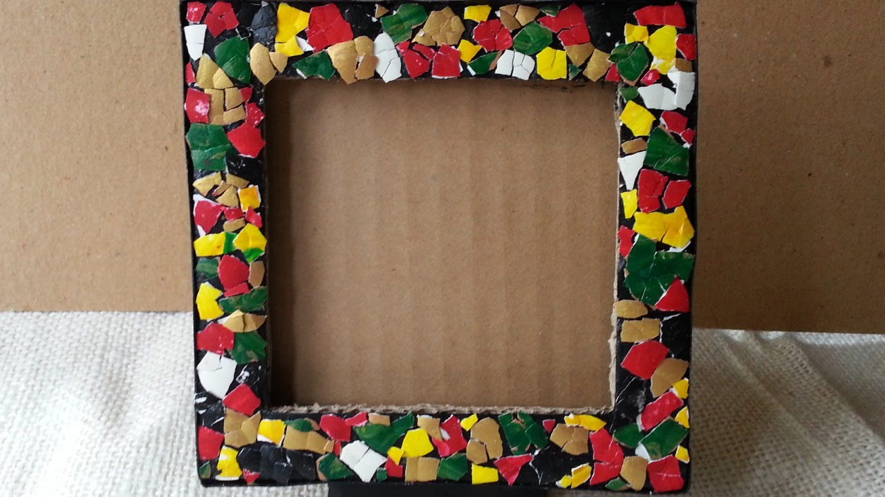 How to make an egg mosaic photo frame diy home tutorial for Waste material products